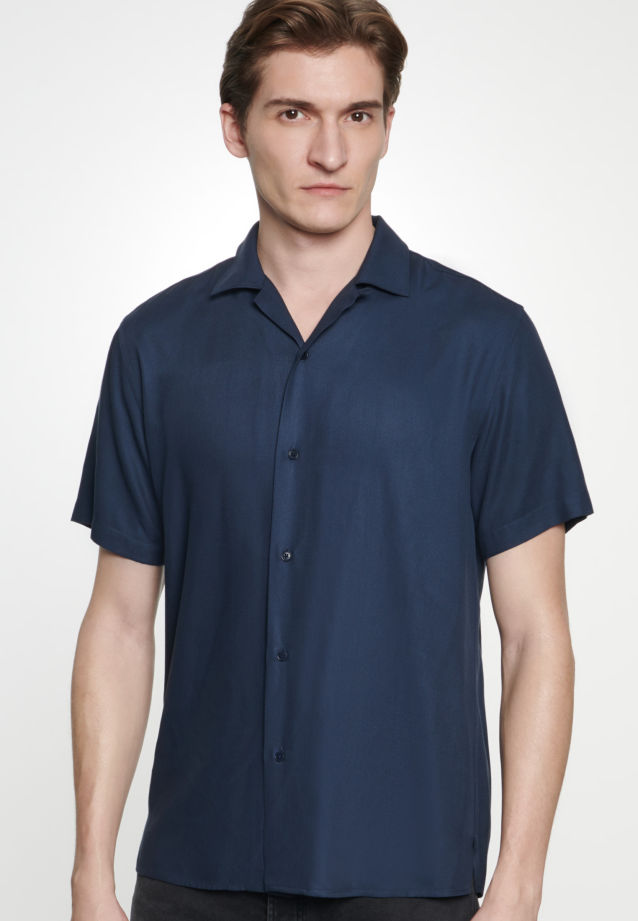 Easy-iron Twill Short sleeve Business Shirt in Shaped with Lapel Collar in Dark blue |  Seidensticker Onlineshop