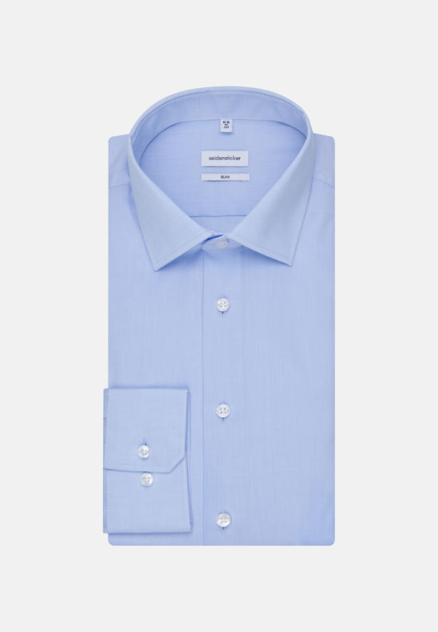 Non-iron Chambray Business Shirt in Slim with Kent-Collar and extra long arm in Light blue |  Seidensticker Onlineshop