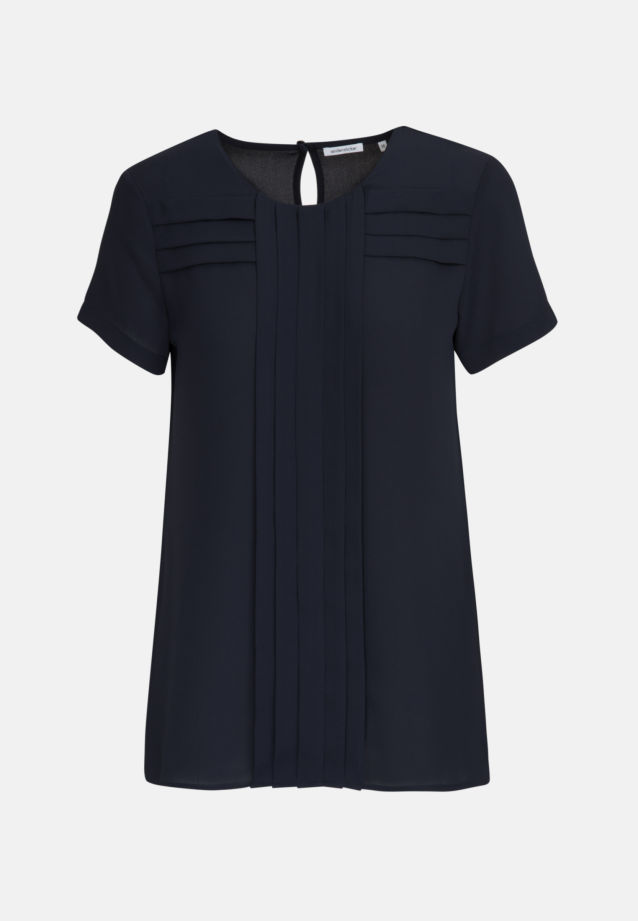 Short arm Crepe Shirt Blouse made of 100% Polyester in Dark blue |  Seidensticker Onlineshop