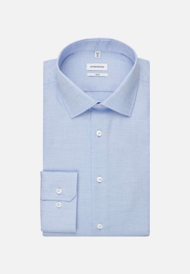 Non-iron Structure Business Shirt in Slim with Kent-Collar and extra long arm in Light blue |  Seidensticker Onlineshop