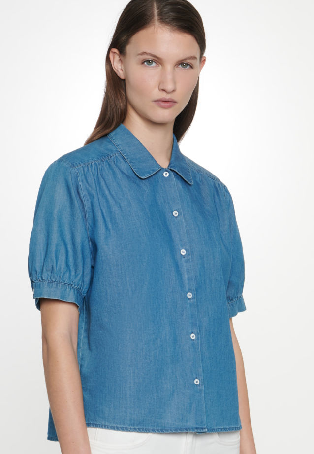 Short arm Denim Shirt Blouse made of 100% Cotton in Dark blue |  Seidensticker Onlineshop