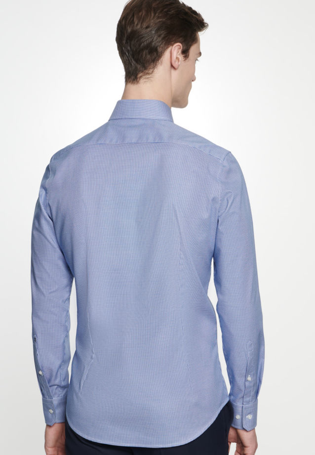 Easy-iron Pepita/tooth-peg check Business Shirt in Shaped with Kent-Collar in Medium blue |  Seidensticker Onlineshop