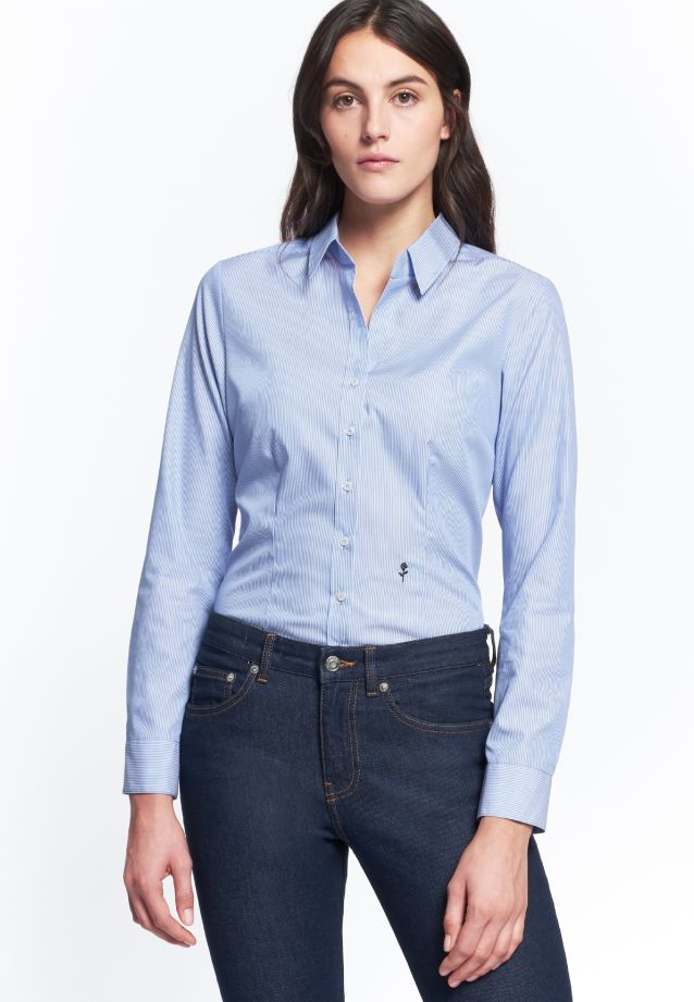 Non-iron Poplin Shirt Blouse made of 100% Cotton in Streifen blau/weiß |  Seidensticker Onlineshop