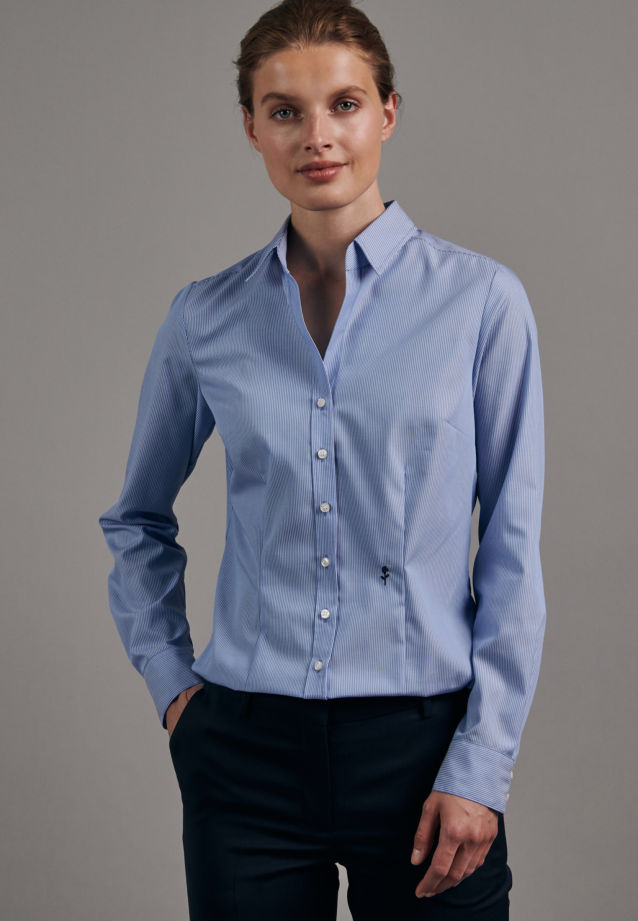 Non-iron Poplin Shirt Blouse made of 100% Cotton in Light blue |  Seidensticker Onlineshop