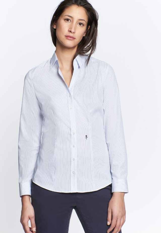 Non-iron Poplin Shirt Blouse made of 100% Cotton in Streifen weiß/blau |  Seidensticker Onlineshop