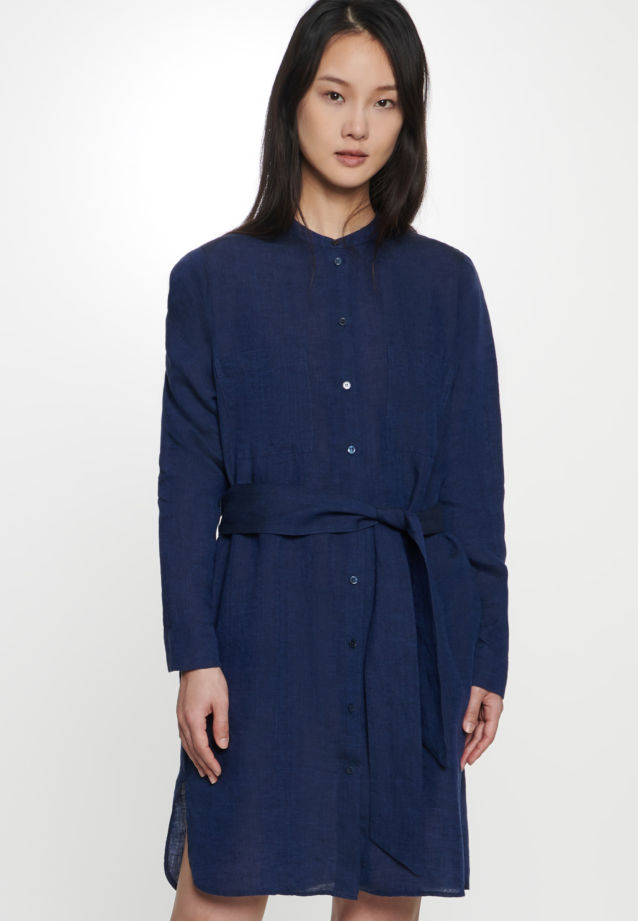 Linen Midi Dress made of 100% Linen in Dark blue |  Seidensticker Onlineshop