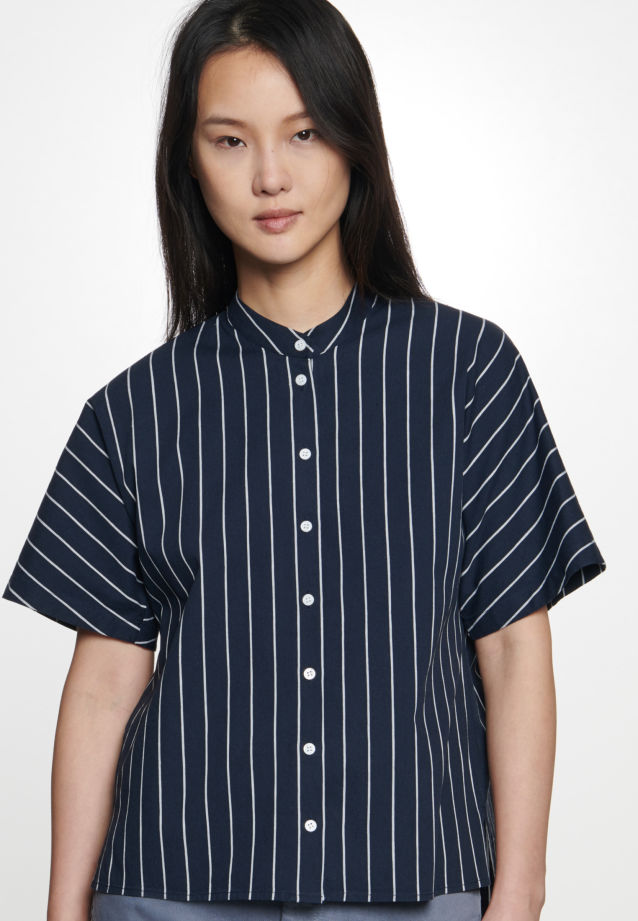 Short arm Poplin Shirt Blouse made of linen blend in Dark blue |  Seidensticker Onlineshop