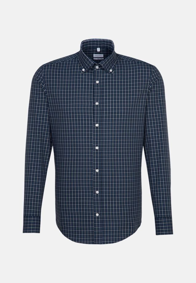 Non-iron Poplin Business Shirt in Slim with Button-Down-Collar in Dark blue |  Seidensticker Onlineshop