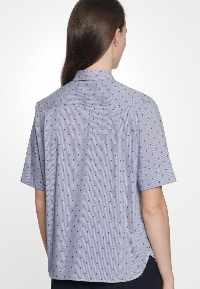Kurzarm Satin Hemdbluse aus Baumwollmischung in Dunkelblau |  Seidensticker Onlineshop