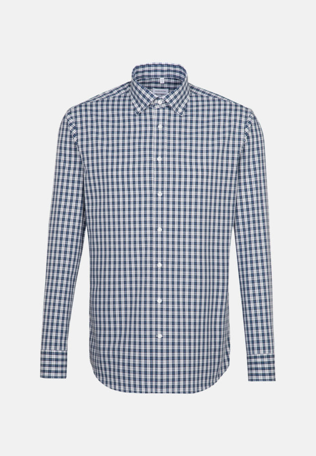 Non-iron Poplin Business Shirt in Shaped with Button-Down-Collar in Dark blue |  Seidensticker Onlineshop