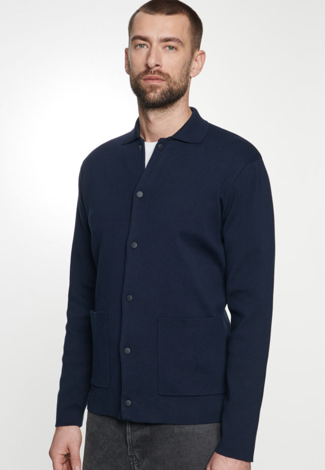 Collar Cardigan made of 100% Cotton in Dark blue |  Seidensticker Onlineshop