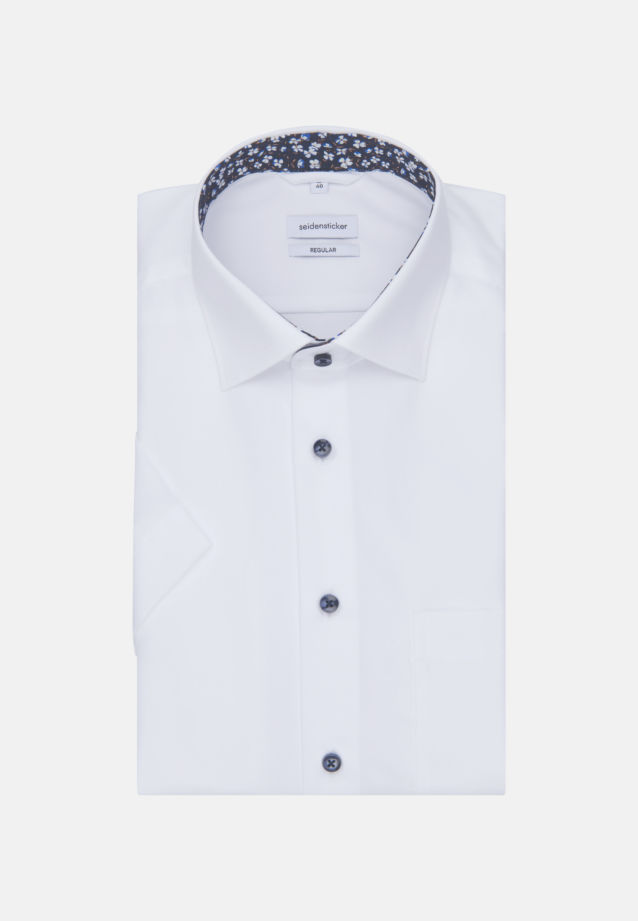 Non-iron Poplin Short arm Business Shirt in Regular with Kent-Collar in White |  Seidensticker Onlineshop