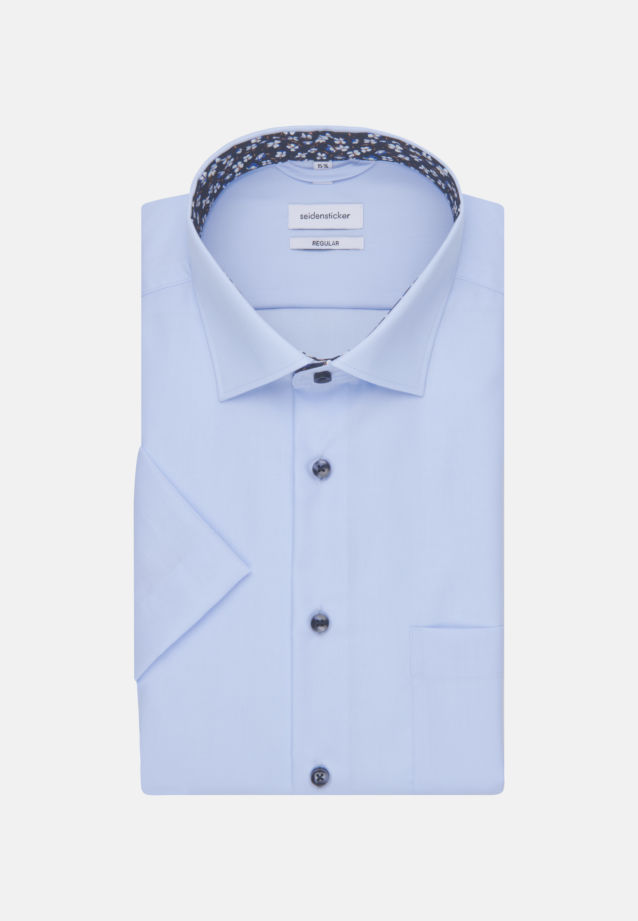 Non-iron Poplin Short sleeve Business Shirt in Regular with Kent-Collar in Medium blue |  Seidensticker Onlineshop