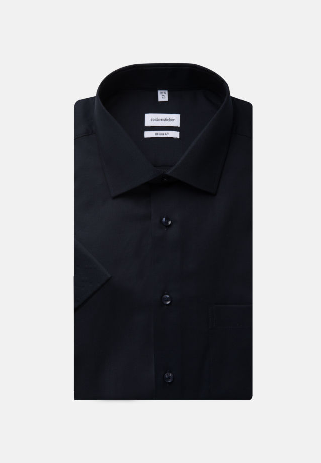 Non-iron Structure Short sleeve Business Shirt in Regular with Kent-Collar in Dark blue |  Seidensticker Onlineshop