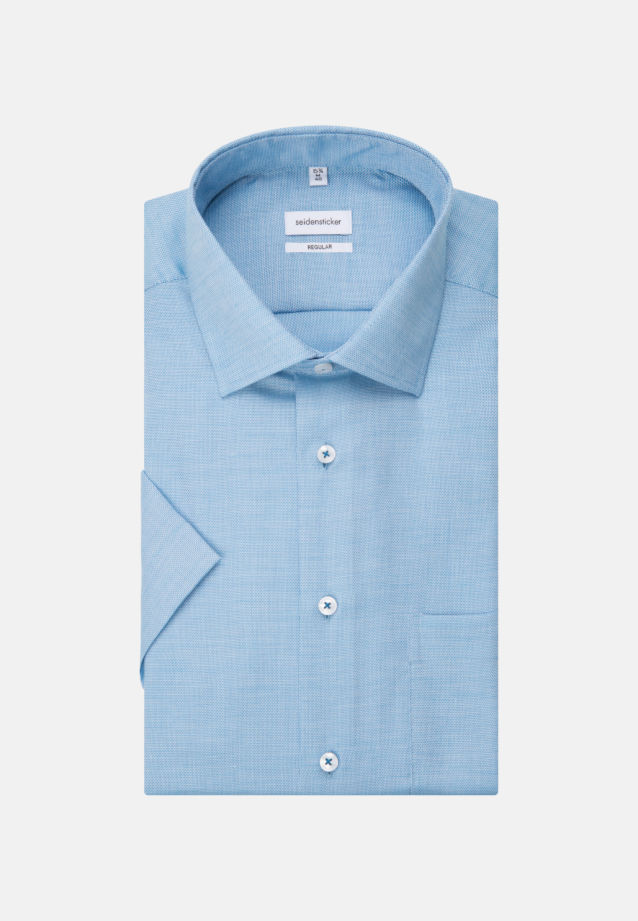 Non-iron Structure Short sleeve Business Shirt in Regular with Kent-Collar in Turquoise |  Seidensticker Onlineshop