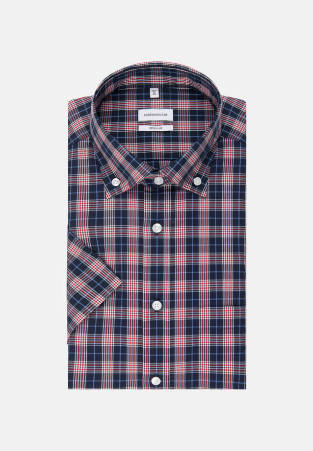 Non-iron Poplin Short arm Business Shirt in Regular with Button-Down-Collar in Red |  Seidensticker Onlineshop