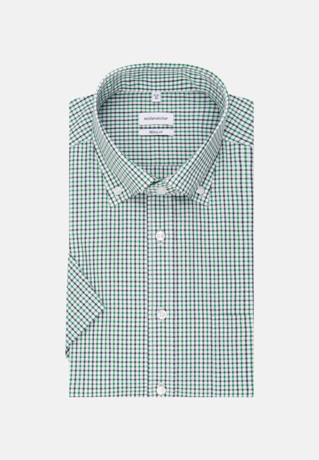 Non-iron Poplin Short sleeve Business Shirt in Regular with Button-Down-Collar in Green |  Seidensticker Onlineshop