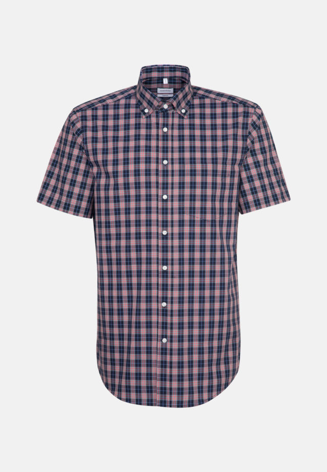 Non-iron Poplin Short sleeve Business Shirt in Comfort with Button-Down-Collar in Red |  Seidensticker Onlineshop