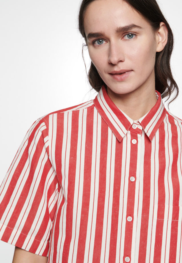 Short sleeve Shirt Blouse made of silk-linen blend in Red |  Seidensticker Onlineshop