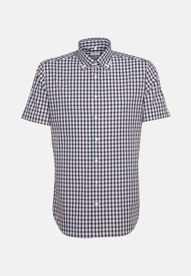 Non-iron Poplin Short sleeve Business Shirt in Shaped with Button-Down-Collar in Dark blue |  Seidensticker Onlineshop