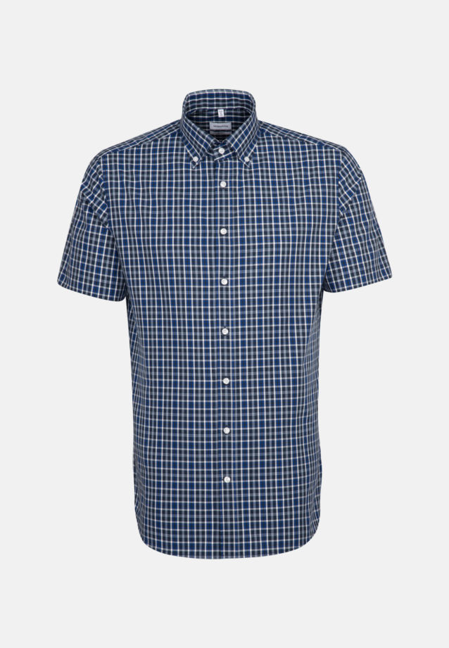 Non-iron Poplin Short sleeve Business Shirt in Shaped with Button-Down-Collar in Medium blue |  Seidensticker Onlineshop