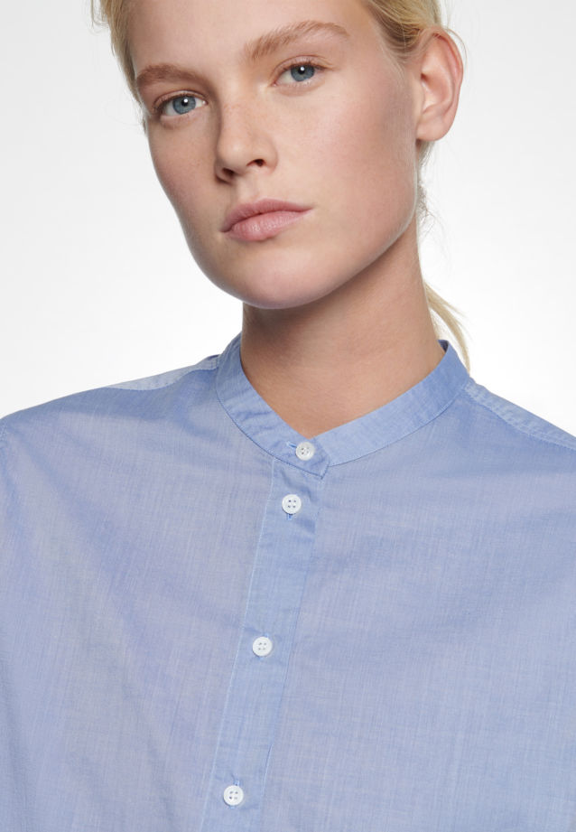 Chambray Stand-Up Blouse made of 100% Cotton in Light blue |  Seidensticker Onlineshop