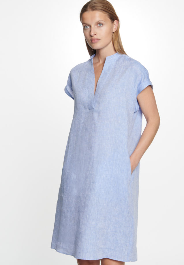 Sleeveless Linen Dress made of 100% Linen in Medium blue |  Seidensticker Onlineshop