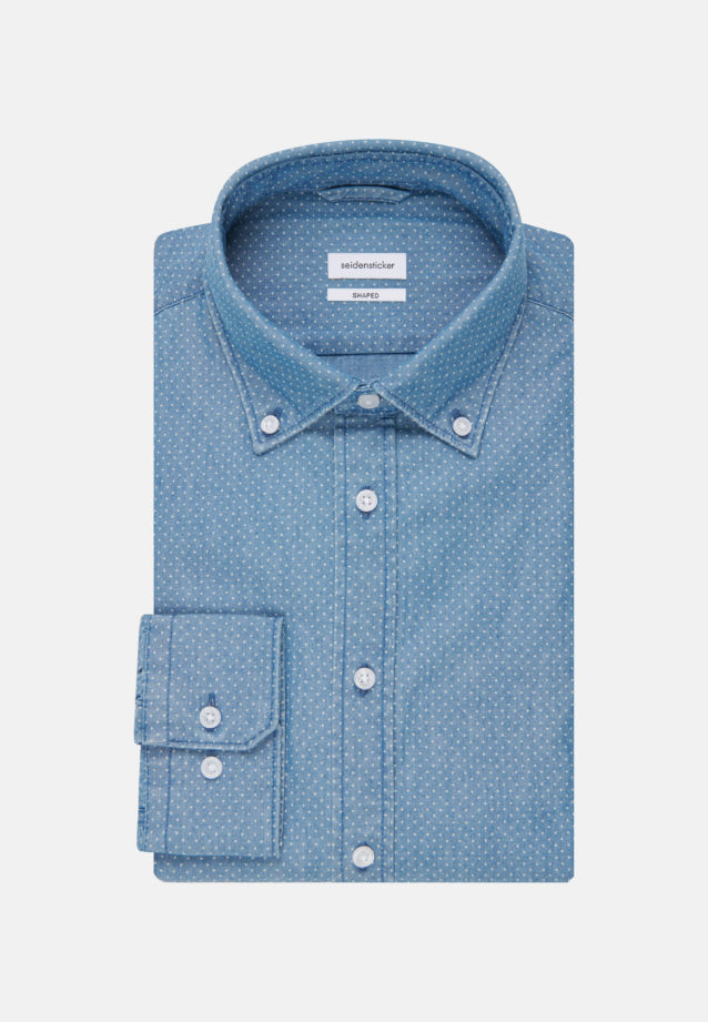 Bügelleichtes Chambray Business Hemd in Shaped mit Button-Down-Kragen in Mittelblau |  Seidensticker Onlineshop