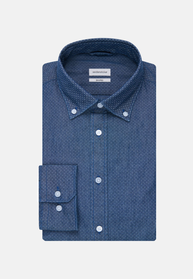 Easy-iron Chambray Business Shirt in Shaped with Button-Down-Collar in Dark blue |  Seidensticker Onlineshop
