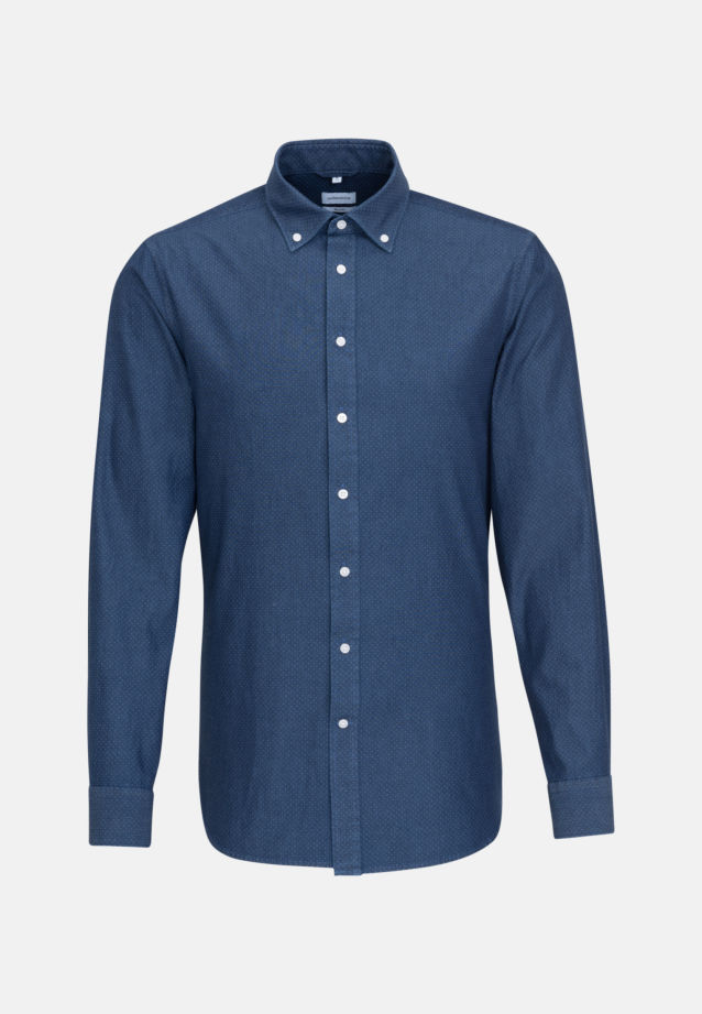 Bügelleichtes Chambray Business Hemd in Shaped mit Button-Down-Kragen in Dunkelblau |  Seidensticker Onlineshop