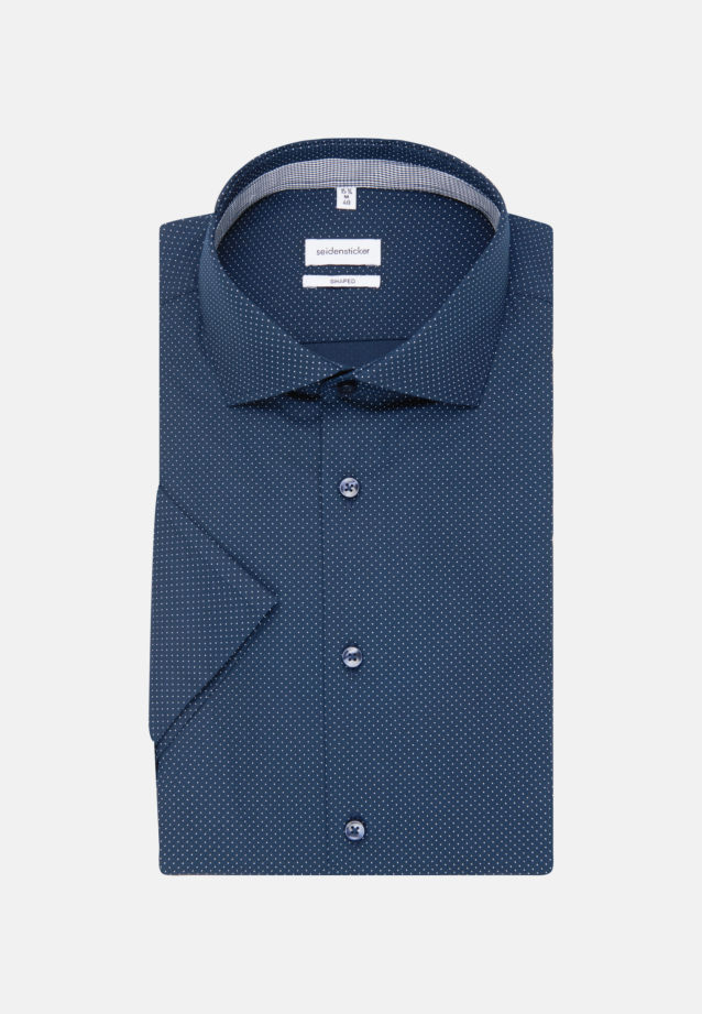 Easy-iron Poplin Short sleeve Business Shirt in Shaped with Kent-Collar in Dark blue |  Seidensticker Onlineshop