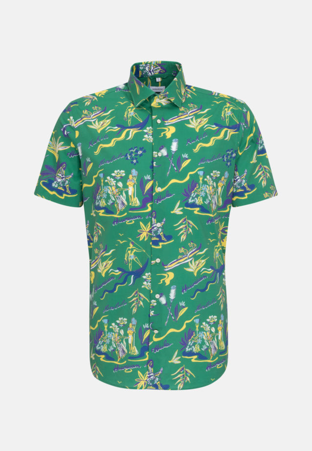 Easy-iron Poplin Short sleeve Business Shirt in Shaped with Kent-Collar in Green |  Seidensticker Onlineshop