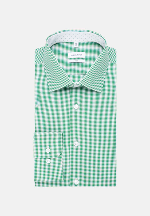 Non-iron Poplin Business Shirt in Slim with Kent-Collar in Green |  Seidensticker Onlineshop