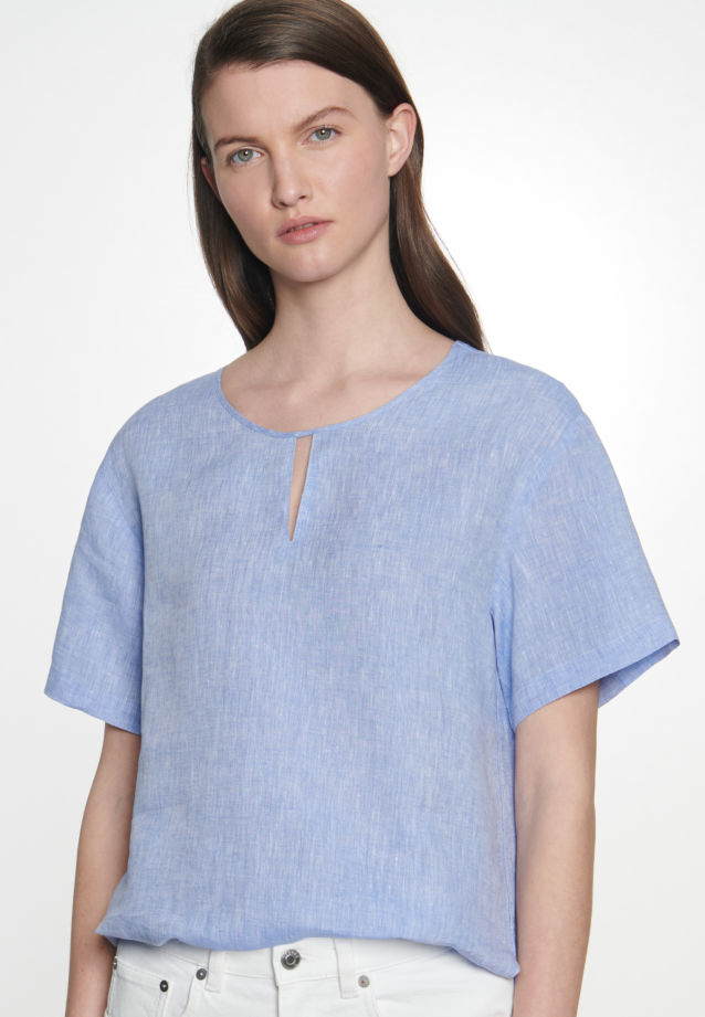Short sleeve Linen Shirt Blouse made of 100% Linen in Medium blue |  Seidensticker Onlineshop