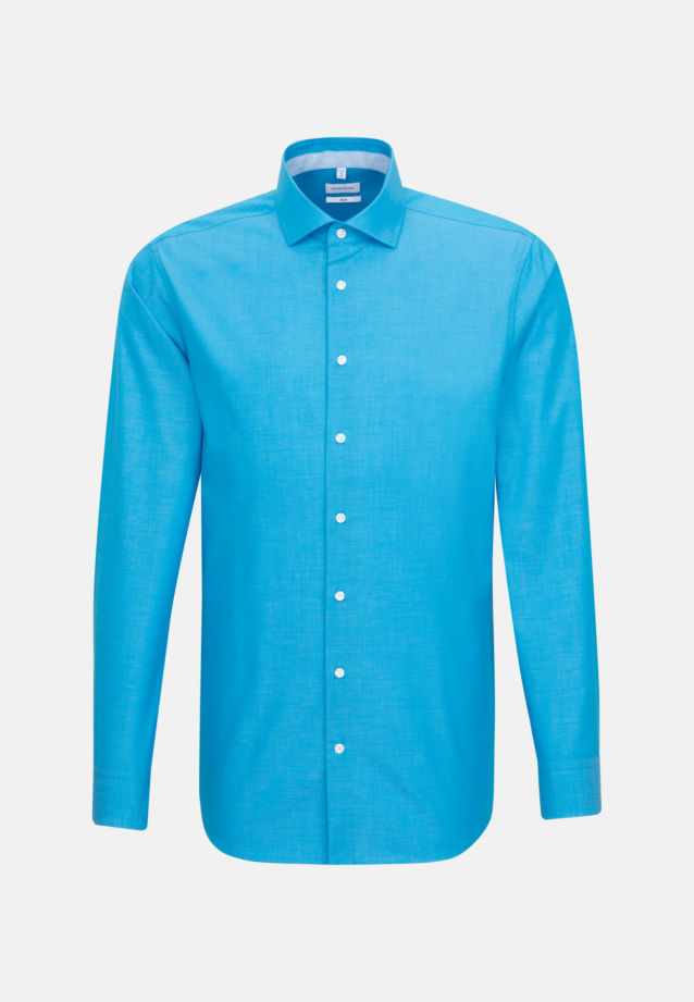 Non-iron Fil a fil Business Shirt in Slim with Kent-Collar in Turquoise |  Seidensticker Onlineshop