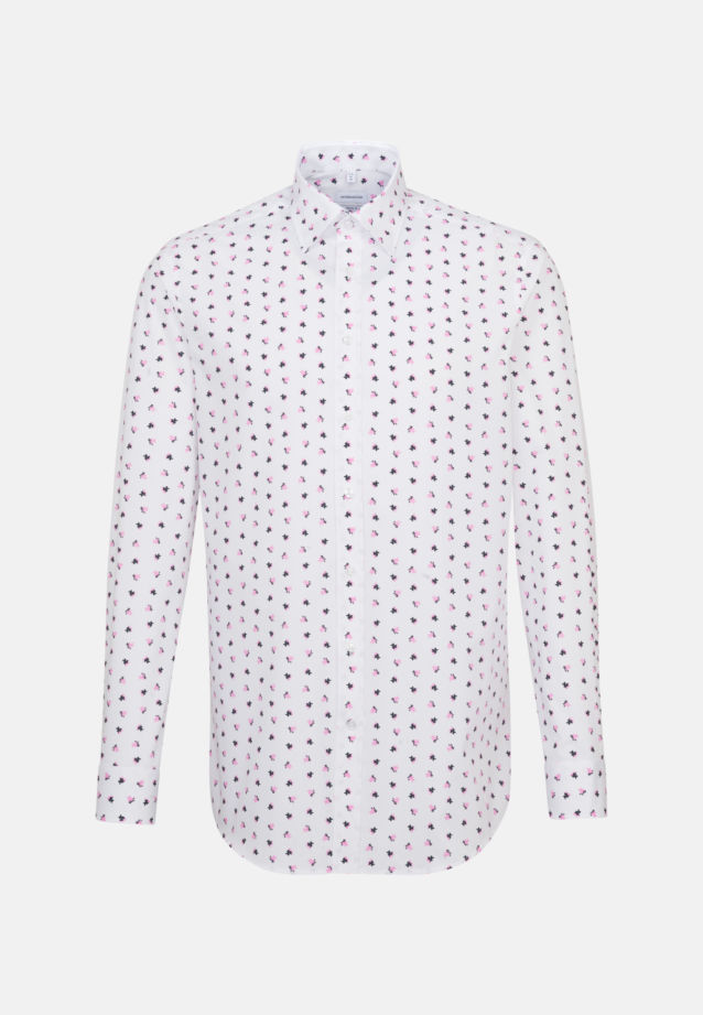 Easy-iron Poplin Business Shirt in Regular with Covered-Button-Down-Collar in Pink |  Seidensticker Onlineshop