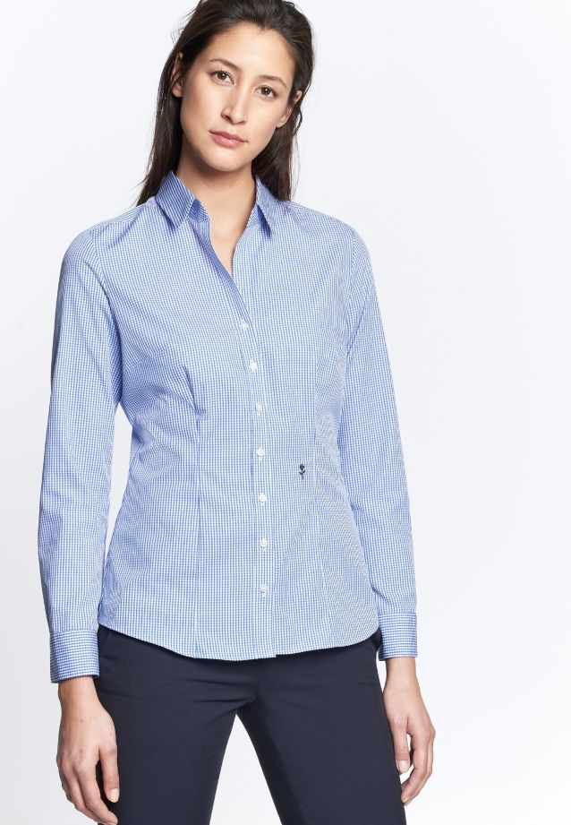 Non-iron Poplin Shirt Blouse made of 100% Cotton in Karo blau/weiß |  Seidensticker Onlineshop