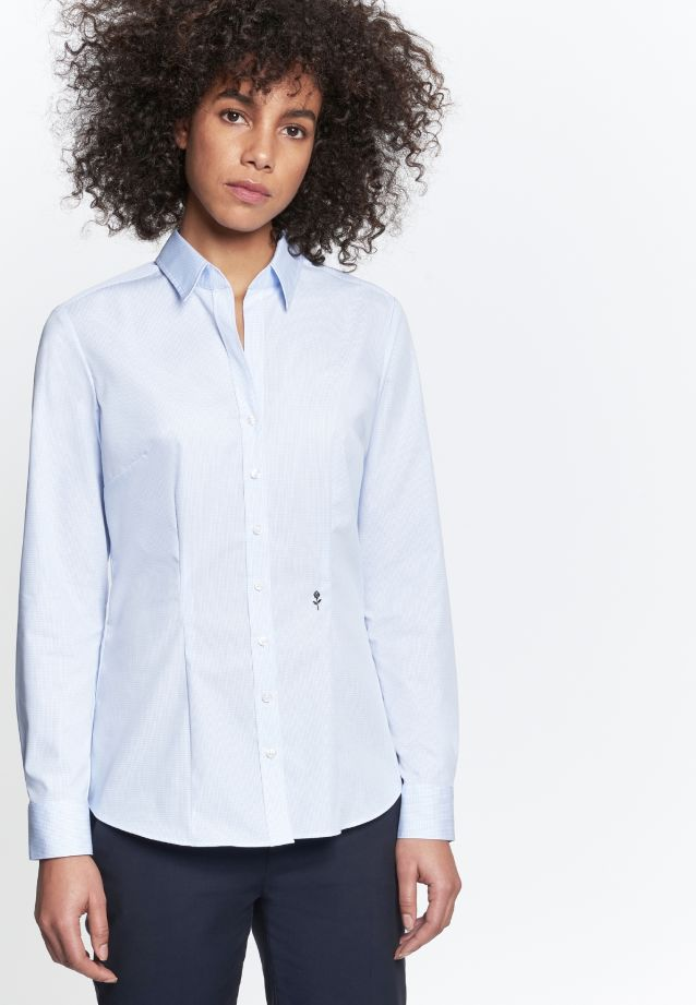 Non-iron Poplin Shirt Blouse made of 100% Cotton in hellblau Karo |  Seidensticker Onlineshop
