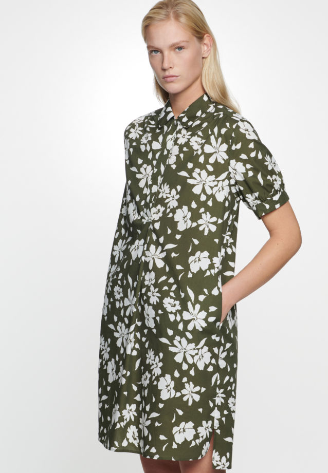 Poplin Midi Dress made of 100% Cotton in Green |  Seidensticker Onlineshop