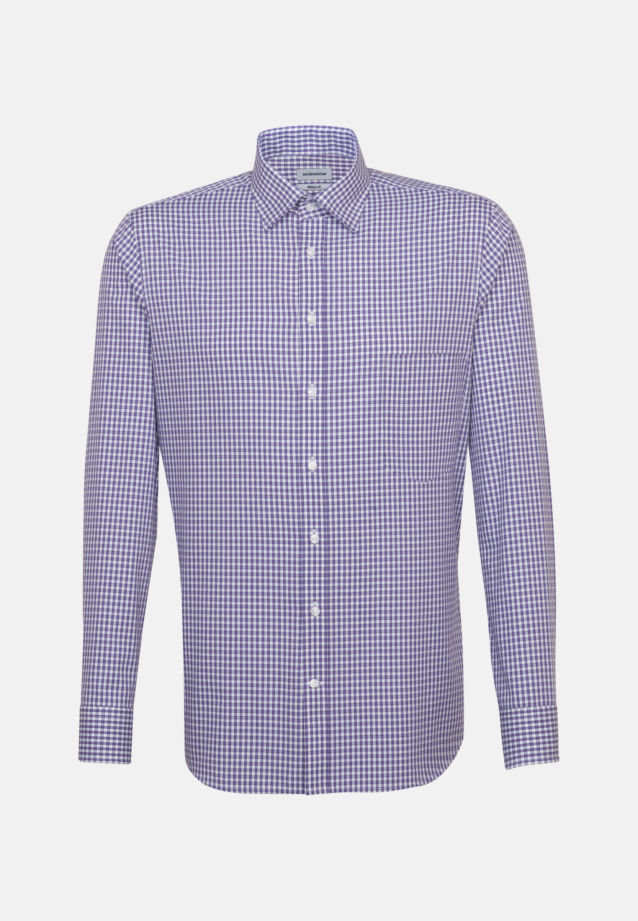 Non-iron Poplin Business Shirt in Regular with Covered-Button-Down-Collar in Purple |  Seidensticker Onlineshop