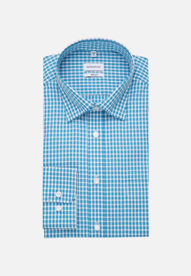 Non-iron Poplin Business Shirt in Regular with Covered-Button-Down-Collar in Turquoise |  Seidensticker Onlineshop