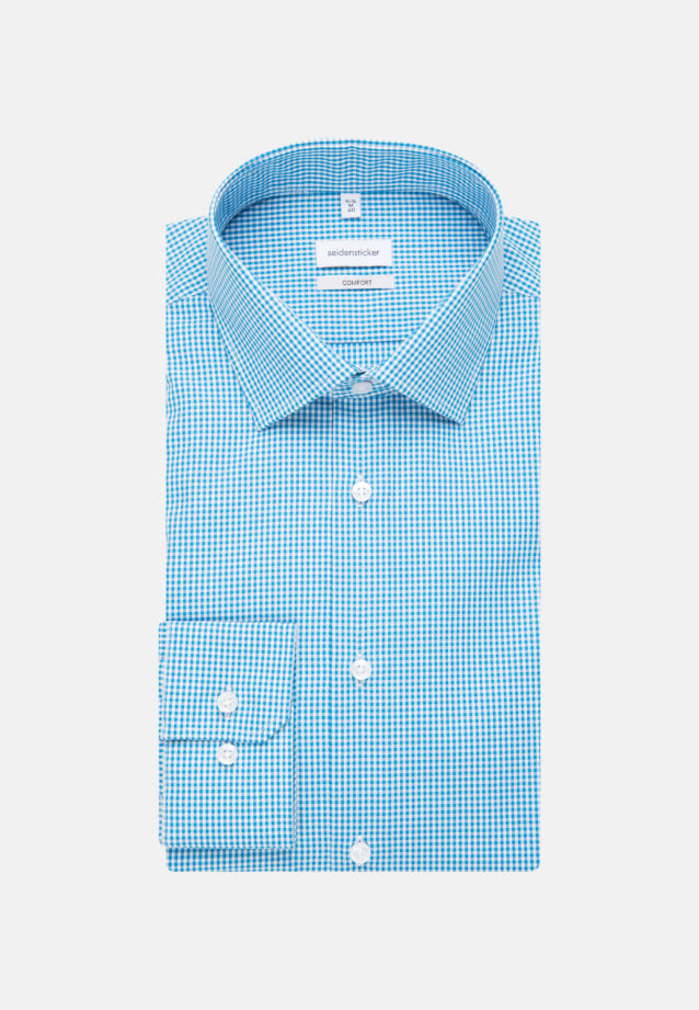 Non-iron Poplin Business Shirt in Slim with Kent-Collar and extra long sleeve in Turquoise |  Seidensticker Onlineshop