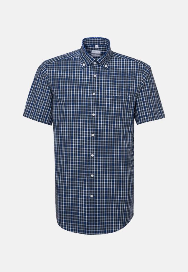 Bügelfreies Popeline Kurzarm Business Hemd in Regular mit Button-Down-Kragen in Mittelblau |  Seidensticker Onlineshop