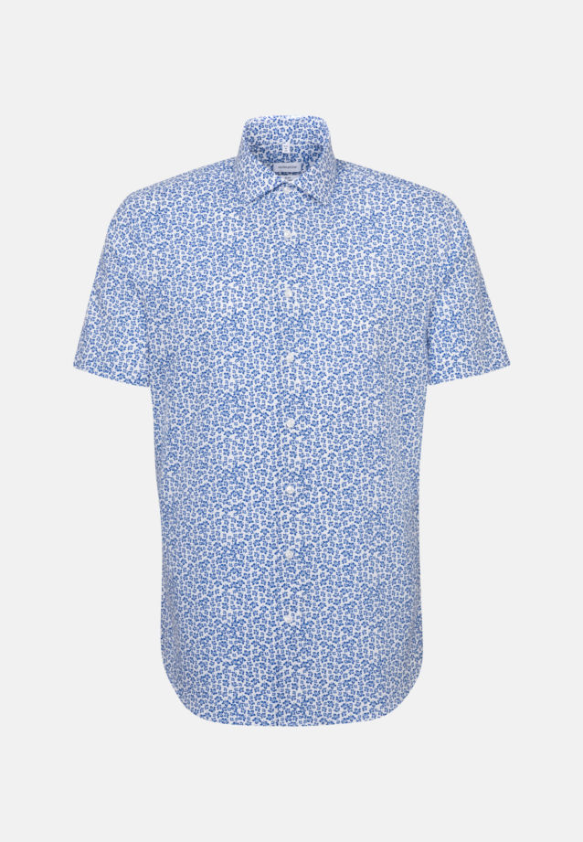 Easy-iron Poplin Short sleeve Business Shirt in Slim with Kent-Collar in Medium blue |  Seidensticker Onlineshop