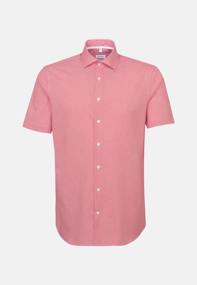 Non-iron Poplin Short sleeve Business Shirt in Shaped with Kent-Collar in Red |  Seidensticker Onlineshop