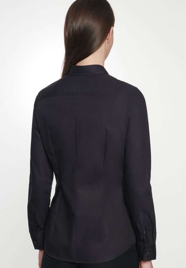 Non-iron Poplin Shirt Blouse made of 100% Cotton in Black |  Seidensticker Onlineshop