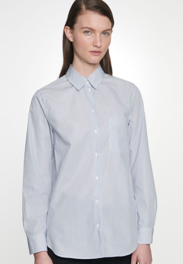 Poplin Shirt Blouse made of 100% Cotton in Medium blue |  Seidensticker Onlineshop