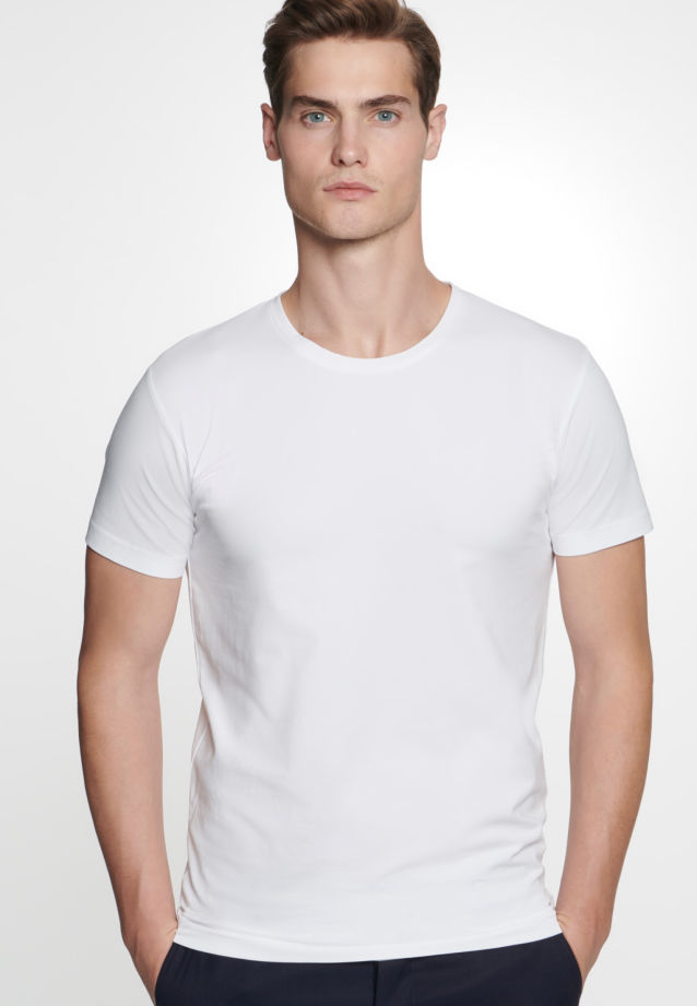 Crew Neck T-Shirt made of 95% Cotton 5% Elastane in White |  Seidensticker Onlineshop