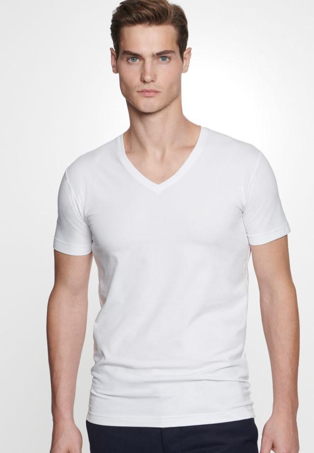 V-Neck T-Shirt made of 95% Cotton 5% Elastane in weiß |  Seidensticker Onlineshop