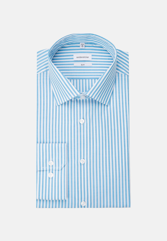 Non-iron Poplin Business Shirt in Slim with Kent-Collar in Turquoise |  Seidensticker Onlineshop